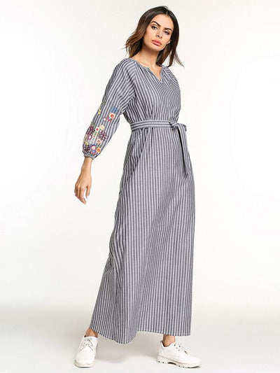 Stylish Long Dress with Belt and Floral Print on Sleeves