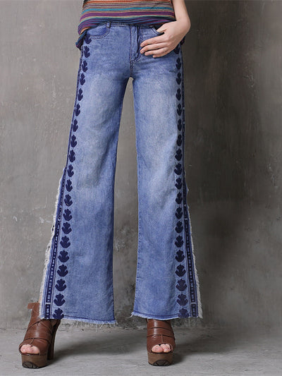 Women Embroidery Trousers S-L Denim Side slit Tassels Jeans