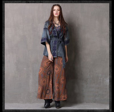 Boho Embroidery Shirt Drawstring Denim Blusas Feminina V-Neck Three Quarter Sleeve Shirt Blouses