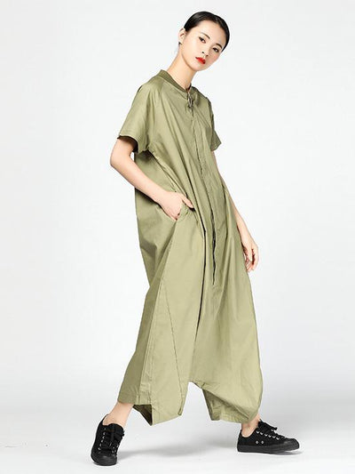 Casual Broaden Loosen Jumpsuit in Black or Green Color