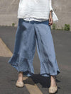 Loose Casual Ramie cotton Falbala Pants