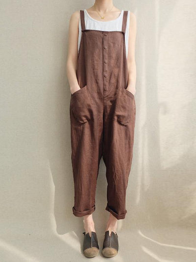 Cotton Casual Woman Jumpsuit in Black or Coffee Color