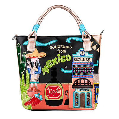 Wine glass cartoon Fashion bright leather personality creative embroidery bag