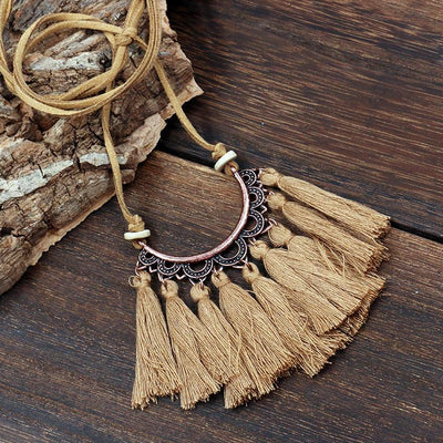 Popular tassel long fashion creative flower vintage necklace