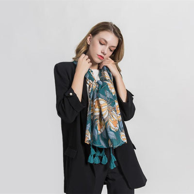 Big flower banquet warm cotton tassel scarf