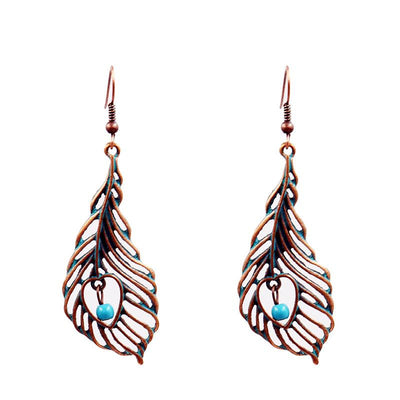angel wings retro love Creative hollowed out leaves alloy earrings