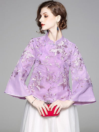 Chinese Style Top in Purple and Apricot with Floral Print