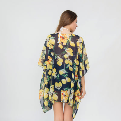 3 Style Chiffon Lemon Pattern Beach Jacket Bikini Swimsuit Cover