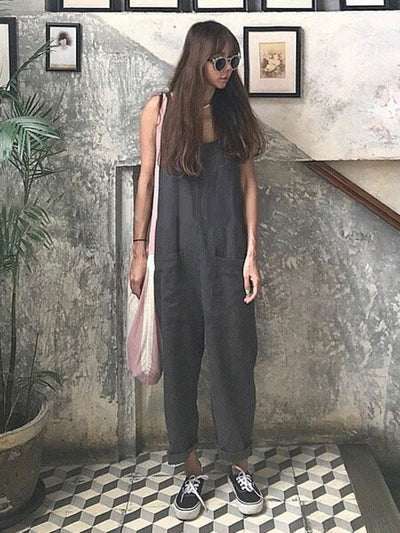 Casual Clean Color Original Jumpsuit in Black and Beige Color