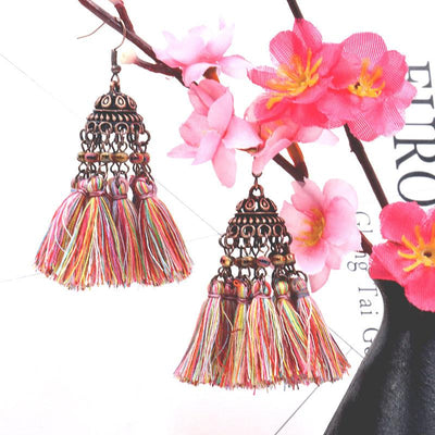 Exaggerated crystal long retro multi-layer tassel earrings Bohemia Earrings Wholesale