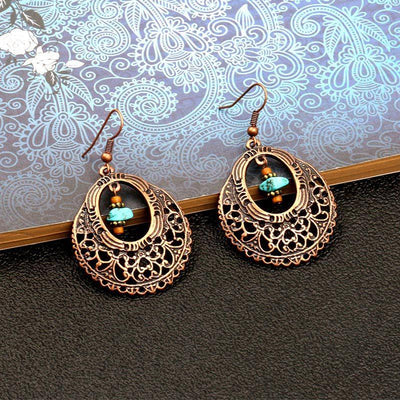 Fashion vintage alloy earrings popular openwork round flower turquoise earrings