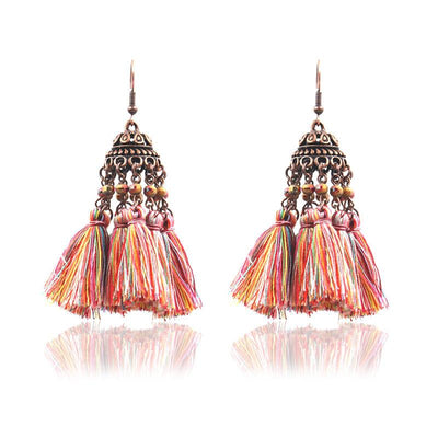 exaggerated crystal long retro earrings