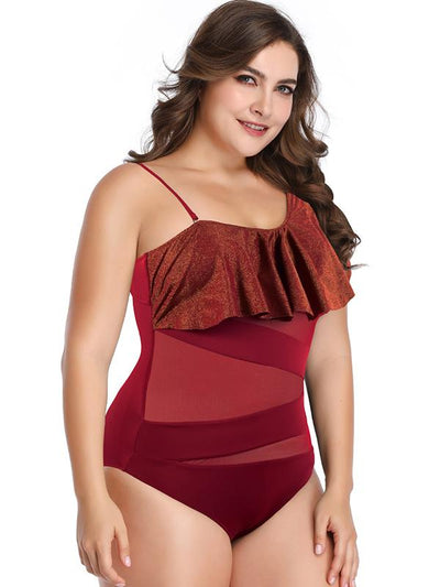 Tulle Hollow Plain Falbala Plus Size Swimwear