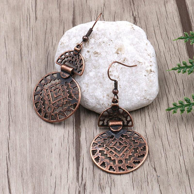 Fashion hollow round alloy popular decoration earrings