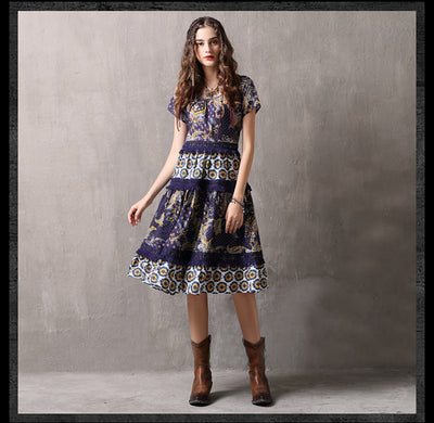 O-Neck Short Sleeve A-line Hollow Out Lace Dresses