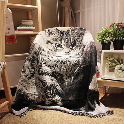 Cartoon Print Tassel Sofa Cover Soft Blanket