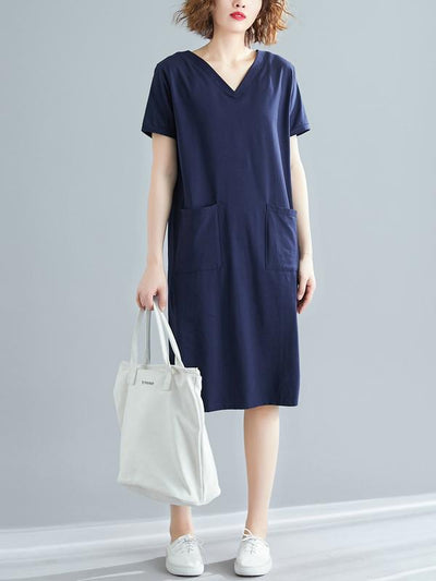 Loose Oversize Solid Midi Dress