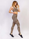 Leopard Printed Sports Vest Top And Leggings