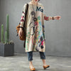 Buykud Round Collar Printed Loose Long Sleeve Dress