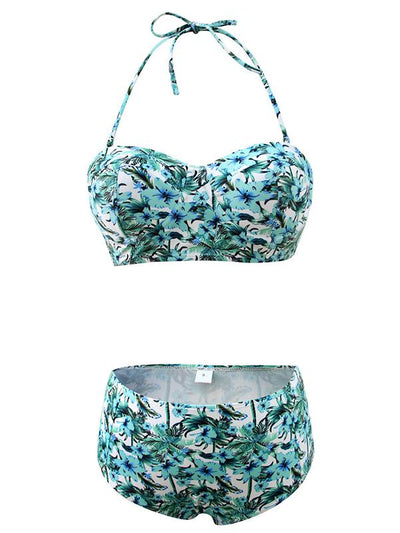 Floral High Waisted Bikini Set