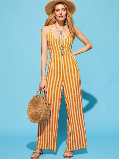 Sexy Backless Stripes Loose Spaghetti Jumpsuit