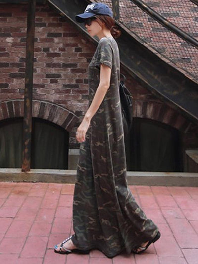 LOOSE COMFORTABLE CAMOUFLAGE LONG DRESS