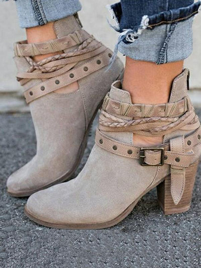 Fashion Buckle Mid-heel Ankle Boots Shoes