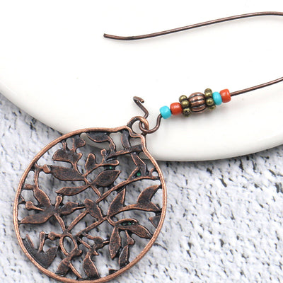 Bohemian Earrings with round hollow leaves