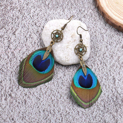 dream catcher Bohemian fashion peacock feather Earrings Wholesale