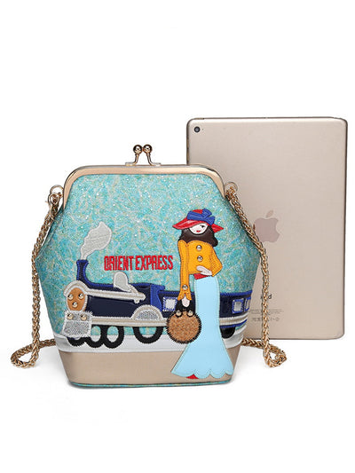 Chain fashion embroidery creative shoulder Bags