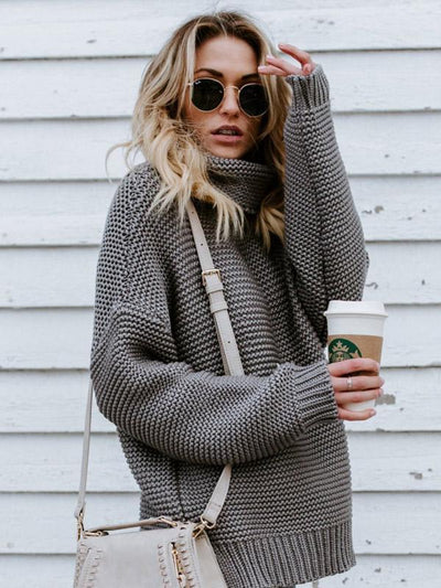 High-neck Long Sleeves Knitting Sweater Tops