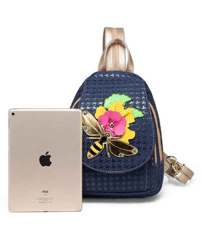 Bee creative embroidery flower casual shoulder bag