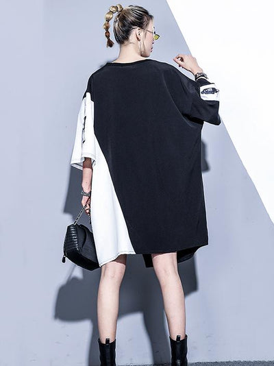 Black&white Split-joint Dress