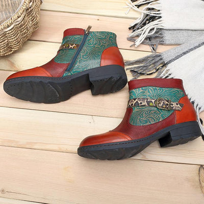 Plant Textured Leather Craft Flat Casual Booties