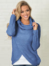 Solid Color Fashion High-neck Button Sweater Tops