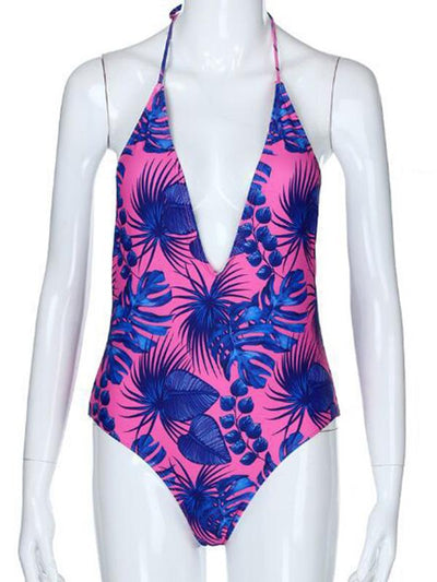 Sexy Halter-neck Printed One-piece Swimsuit
