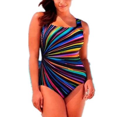 Oversized Feipo Stripe Print and fat all ONE-PIECE SWIMSUIT