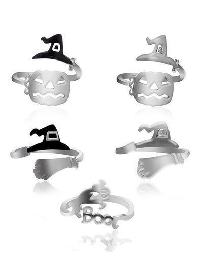 Halloween Witch's Hat&Broomstick Hollow Rings