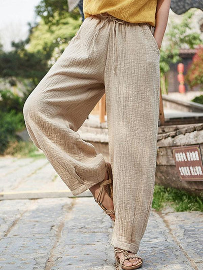 Loose Retro Lace-up Pants