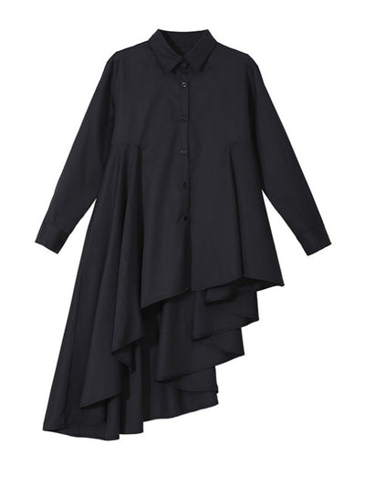 LOOSE BLACK CROPPED PLEATED SHIRT