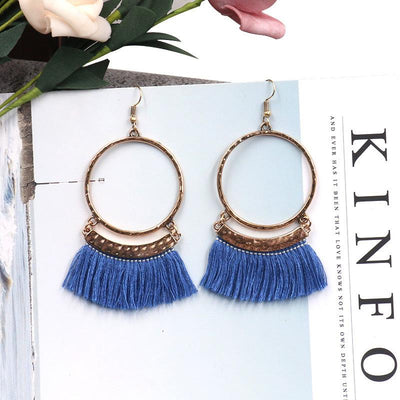 Large circle earrings gold old alloy long tassel pendant Earrings Wholesale