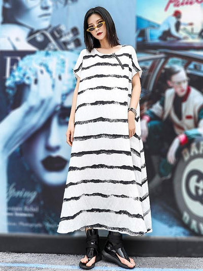 Loose Simple Striped Round-neck Long Dress