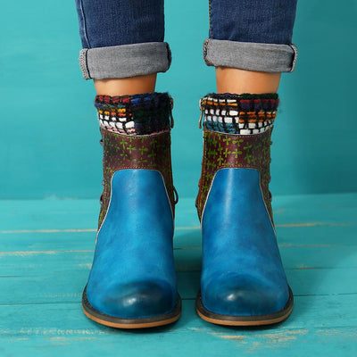 Blue Leather denim super comfortable women's boots