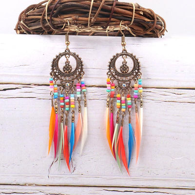Round cutout beautiful bohemian fashion feather tassel  Earrings Wholesale