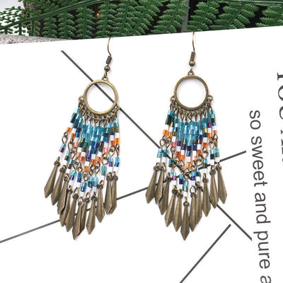 Fashion Round Cutout Creative Beizhu Tassel Bohemian Earrings