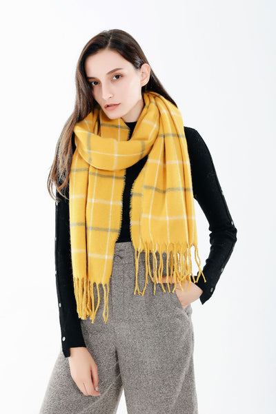 Couple thick warm wool cashmere plaid shawl scarf