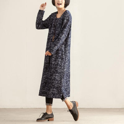 Casual Round Neck Long Sleeve Women Autumn Winter Dress