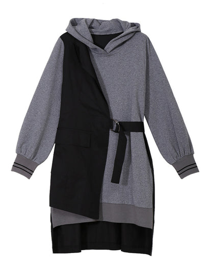 False Two High-low Split-joint Hoodie Mini Dress