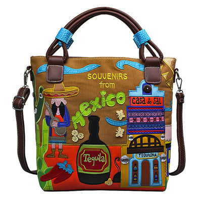 retro portable handmade embroidery canvas bag