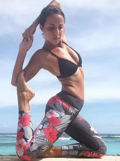 Sports Floral High Waisted Leggings